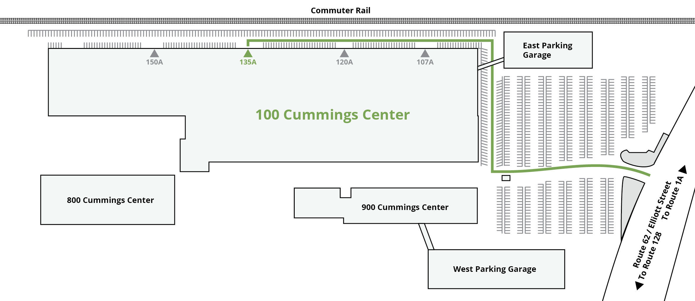 Map of 100 Cummings Center Beverly, Massachusetts